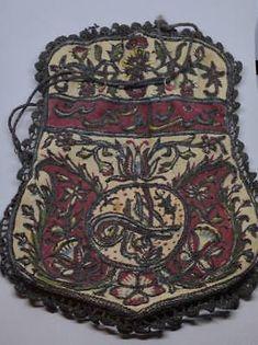 Antique Turkish Ottoman Brockade Hand Embroidered Purse Silk Bag Tughra