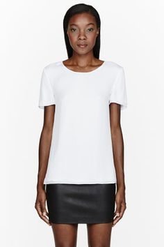 T BY ALEXANDER WANG White Silk Georgette & jersey layered top