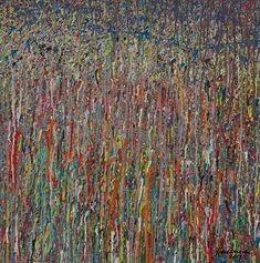 """Konzeptionelle experimentelle Malerei, die abstrakte Gegenwartskunst zum Thema Naturraum schafft.  Der chaotische Farbauftrag kombiniert mit subtilen räumlichen Effekten der Malerei lässt """"Organisches"""" entstehen, das durch die Größe des Bildes """"abgesteckt"""" wird. So ist der Titel """"Claim 14"""" - zu deutsch Anrecht oder Anspruch Nummer 14 – in Bezug zur Fläche """"70 70"""" (70 x 70 cm) zu verstehen.  Gemalt wurde mit einer Mischtechnik, bestehend aus Acryl, wasservermischbarer Ölfarben und…"""