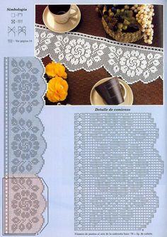 Szydełkomania: Bordiury - My WordPress Website Crochet Edging Patterns, Filet Crochet Charts, Crochet Motifs, Crochet Borders, Crochet Diagram, Bead Loom Patterns, Thread Crochet, Crochet Designs, Crochet Doilies