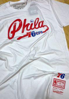 8fe0906e091a6 Mitchell and Ness Philadelphia 76ers White Script Short Sleeve Fashion T  Shirt