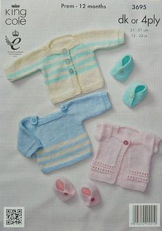 Knitting pattern for Babies Jumper, Moccasins and Cardigans by King Cole (No. 3695). Instructions available in both DK and 4ply in the same
