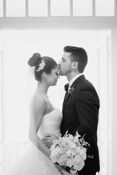 bride and groom - sweet forehead kiss