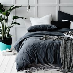 I waannnnt Home Republic European Collection Stonewash Silver - Bedroom Quilt Covers & Coverlets - Adairs online Silver Bedroom, Linen Bedroom, Bedroom Inspo, Bedroom Inspiration, Bedroom Ideas, Dream Bedroom, Home Bedroom, Bedroom Decor, Master Bedroom