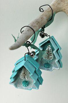 tree displayed in paper mache tree box ornament blue ornament, box christma, tree box, mach tree, mach box, blue christmas, paper mache, christmas trees, box ornament