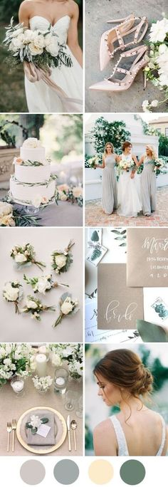 A Romantic, Neutral Palette for Minimalist Weddings Grey, neutral wedding colour palette. We might be well into the autumn season, with the colours of nature surrounding us in every park and on every pathway, but we're still lusting after this y Neutral Wedding Colors, Winter Wedding Colors, Wedding Color Schemes, Spring Wedding, Wedding Colour Palettes, Summer Wedding Themes, Summer Wedding Flowers, Autumn Wedding Ideas, Vintage Wedding Colors