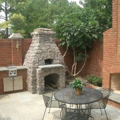 Traditional Backyard Decoration With Outdoor Fireplace Pizza Oven Kits, And  Red Brick Wall Outdoor Chimney  Outdoor Fireplace And Pizza Oven