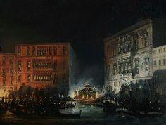 Giovanni Grubacs, Venezia la festa del Redentore, XIX secolo, olio su tela, 35x50 cm