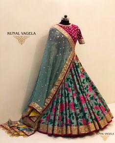 Sep 2019 - Raw Silk Floral Lehenga- For enquires Kindly call / message on rawsilklehenga Indian Lehenga, Raw Silk Lehenga, Floral Lehenga, Lehenga Choli Designs, Wedding Lehenga Designs, Indian Gowns Dresses, Indian Fashion Dresses, Indian Designer Outfits, Designer Bridal Lehenga