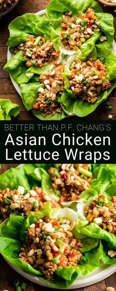 Asian Chicken Lettuce Wraps (better than P. Chang's)! A quick, easy, healthy a… Asian Chicken Lettuce Wraps (better than P. Chang's)! A quick, easy, healthy and delicious dinner or appetizer! Gluten and dairy-free! Step-by-step recipe video! Easy Healthy Dinners, Healthy Dinner Recipes, Healthy Snacks, Healthy Eating, Easy Healthy Appetizers, Quick Easy Healthy Dinner, Healthy Asian Recipes, Asian Chicken Recipes, Asian Dinner Recipes