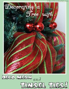 A tutorial for quickly decorating a Christmas tree with deco mesh
