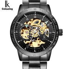 (34.00$)  Buy here - http://air7x.worlditems.win/all/product.php?id=32801600460 -  Automatic Luxury Brand Watch Men Skeleton Mechanical Wristwatch Fashion Casual black Stainless Steel Clock male