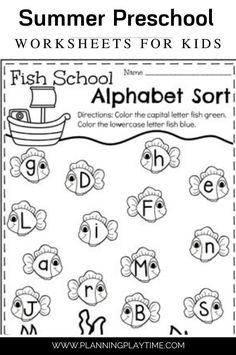 Alphabet Upper and Lowercase Letter Sort. Summer Worksheets, Pre K Worksheets, Alphabet Worksheets, Upper And Lowercase Letters, Lower Case Letters, Preschool Worksheets, Preschool Activities, Parenting Toddlers, Letter Recognition