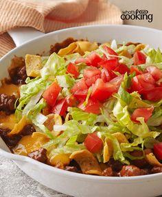 Cheesy Beef-Corn Chip Skillet #recipe