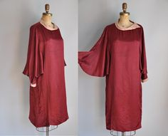 Vintage antique 1920s burgundy red Romantic raw silk dress