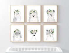 This animal art prints collection features a set of 6 prints from my flower crowned animals wall art. The collection includes portraits of an owl, deer, fox, hedgehog, bear, and rabbit. If, however, youd like to swap any of them for a different piece in my shop, please give me a notice