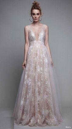 Berta A-Line Blush Evening Gown