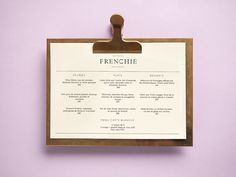 Art of the Menu: Frenchie
