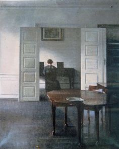 Vilhelm Hammershoi (Danish, 1864-1915) - Interior with a Woman Playing Piano - c. 1910