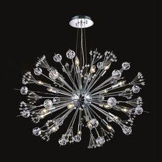 """Worldwide Lighting W83111C24 Starburst 20 Light 1 Tier 24"""" Chrome Chandelier wit Chrome Indoor Lighting Chandeliers Ambient Lighting"""