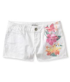 Placed Print White Denim Shorty Shorts  I like the floral design
