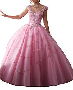 63b407c1867c Dearta Women's Ball Gown Cap Sleeves Corset Back Quinceanera Dresses Pink  US 0