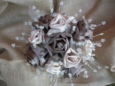 Shop for on Etsy, the place to express your creativity through the buying and selling of handmade and vintage goods. Country Wedding Bouquets, Wedding Country, Satin Roses, Bridal Accessories, Country Decor, Wedding Bride, Brooch, Elegant, Trending Outfits