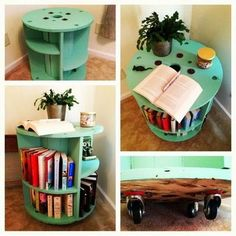 Home Furniture Grey Antique White Living Room Furniture Wooden Cable Spools, Wood Spool, Furniture Makeover, Home Furniture, Wire Spool Tables, Wood Crafts, Diy And Crafts, Diy Old Books, Painting Wooden Furniture