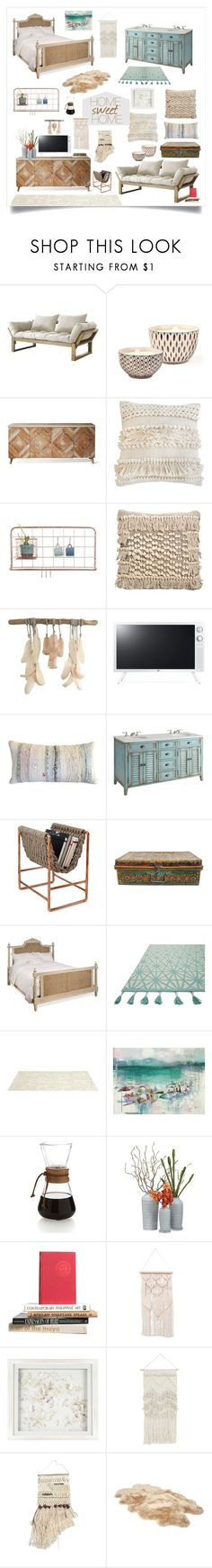 """""""home sweet bohemian."""" by tothineownselfbtrue ❤ liked on Polyvore featuring interior, interiors, interior design, home, home decor, interior decorating, Fresh Futon, Bambeco, Pom Pom at Home and Homage"""