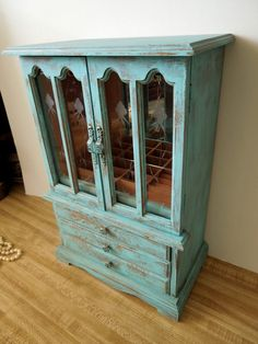 Large Wooden Jewelry Box Distressed Turquoise by sodistressed, $95.00