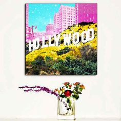 Hollywood Sign Pop Art Canvas Large Fashion Canvas by trolleyla (Art & Collectibles, Prints, canvas wall art, large home decor, capitol records, large canvas art, hollywood canvas, hollywood sign, travel typography, hollywood art, pop art, girls room, canvas art print, city art, fashion decor)