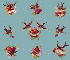 #birds #hearts #tattoo