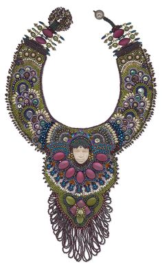 Jewelry Design - Bib-Style Necklace with Rubberized Acrylic Beads, Seed Beads and Czech Fire-Polished Glass Beads - Fire Mountain Gems and Beads