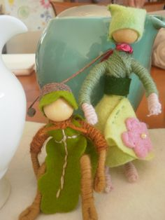 Oakie and Flora the pipecleaner dolls