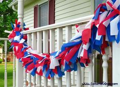 Fun Home Things: DIY Patriotic Outdoor Garland (using plastic table cloths and a string of lights) This would be really pretty lit up at night