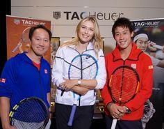 l to r: former tennis champion Michael Chang, Maria Sharapova, and Kei Nishikori all wearing TAG Heuer on their wrists last month during Roland Garros (photo Julio Piatti)