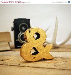 SALE Rustic Gold Leaf Wood Ampersand by EdiesLab on Etsy, $5.95