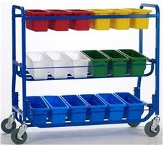 Today's Classroom - LW430-18 Library on Wheels with 18 Small Tubs, $249.60 (http://www.todaysclassroom.com/lw430-18-library-on-wheels-with-18-small-tubs/)