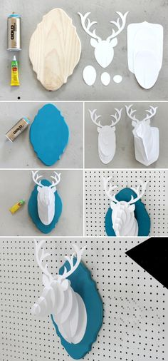 :* L- DIY Paper Deer Bust from I SPY DIY. Diy And Crafts, Arts And Crafts, Paper Crafts, Diy Projects To Try, Craft Projects, Diys, I Spy Diy, Papier Diy, Ideias Diy