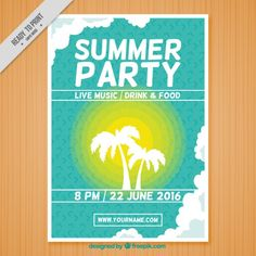 Summer party poster template Free Vector | Free Flyer | Pinterest ...