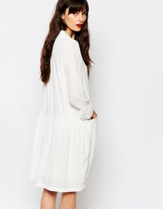 Image 2 ofJust Female Lola Smock Dress in White