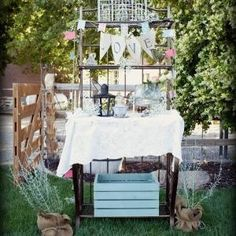 Wedding dessert table #outdoor wedding #wedding #bakers rack #vintage