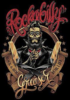 'Rockabilly Greaser' Poster by rahmenlos Barber Poster, Barber Logo, Pin Up, Giger Art, Rockabilly Art, Barber Haircuts, Totenkopf Tattoo, Retro Camping, Pop Art Drawing