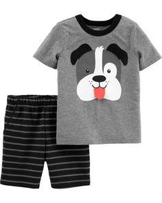 7c70c9311 2-Piece Button-Front Top & Denim Pant Set. Carters Baby BoysToddler ...