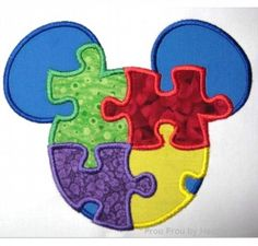 Autism Awareness Mister Mouse Head, Machine Applique Embroidery Design, Multiple Sizes, including 1, 2, 4, 5, and 6 inch, $3.75