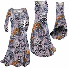 NEW! Customize Lilac & Brown Multi Animal Skin Slinky Print Plus Size & Supersize Standard or Cascading A-Line or Princess Cut Dresses & Shi...