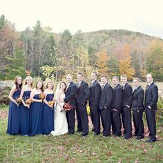 Priscilla of Boston Bridesmaid Dresses, black suits with navy ties to match