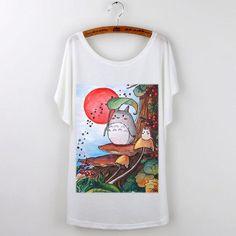 Summer Tops 2017 Harajuku Funny T Shirts Cute Totoro Graphic Tees Women T-shirt Loose Cartoon Print Casual Tee Shirt Femme White