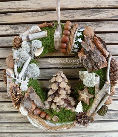 NATURAL KANZ ♥ Waldhirsch ♥ Рождественский венок Türkranz ОХОТА LANDHAUS WALD COUNTRY Grapevine Wreath, Burlap Wreath, Xmas Decorations, Decoration Noel, Nature Decor, Christmas Wreaths, Holiday Decor, Holidays And Events, All Things Christmas