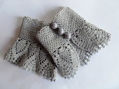 Crochet Gloves Victorian Gloves Gray Lace by SmilingKnitting,